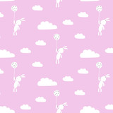 Seamless pattern whith cute animals and clouds. Vector illustration.
