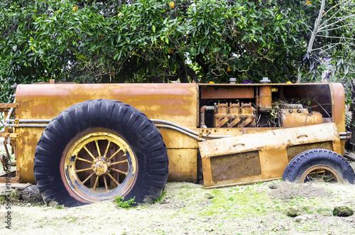 Aluminium Trekker Abandoned Truck in an Orange Orchard