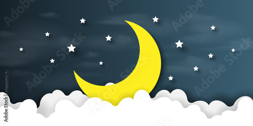 Fototapeta Night scene with cloudscape,stars and crescent moon on midnight sky background paper art style design.Vector illustration.