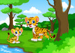 Tiger cartoon in the forest with his cute son