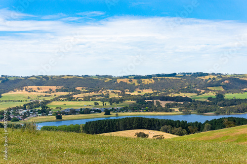 Tuinposter Natuur Aerial view of pictureesque rural landscape with water dam, lake