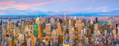 Aerial view of Manhattan skyline at sunset, New York City - 196103512