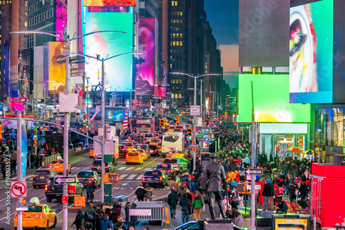 Aluminium New York Times Square, iconic street of Manhattan in New York City