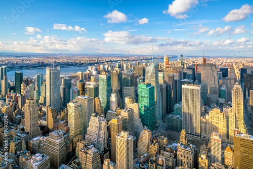 New York Aerial view of Manhattan skyline, New York City