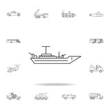 Battleship line icon. Detailed set of transport outline icons. Premium quality graphic design icon. One of the collection icons for websites, web design, mobile app