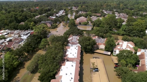 Poster Aerial view of flooded neighborhood in Houston after Hurricane Harvey