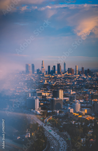 Poster Los Angeles skyline at sunset