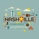 Nashville landmarks, attractions and text design with longitude and latitude. Flat icon style. For t-shirts, cards, banners, and posters. - 196116581