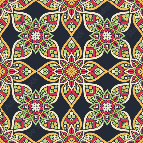 Cotton fabric Ornate floral seamless texture