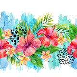 Hand painted artwork: watercolor tropical leaves and flowers on brush strokes background. - 196124970
