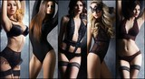 Young, sexy and beautiful woman in lingerie. Fashion model posing in sexy underwear. Spring concept collage.