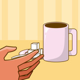 Hand grabbing coffee cup