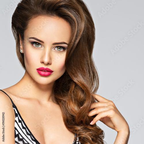 Plexiglas Kapsalon Young pretty woman with long hair