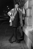 Miasto, noc, moda, kobieta, styl, ulica, kapelusz, - 196129951