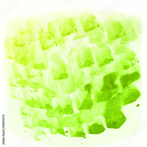 Abstract green watercolor hand painted background - 196135575
