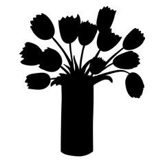 Black silhouette of tulips in vertical vase.
