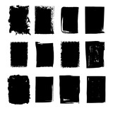 Collection of hand drawn rectangle stains - 196136138
