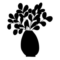 Black silhouette of cartoon plant with long branches and small leaves.