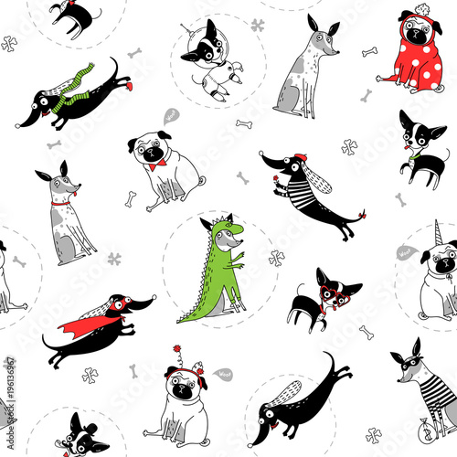 Fotobehang Hipster Hert seamless texture with drawings of funny dogs in different costumes, vector illustration