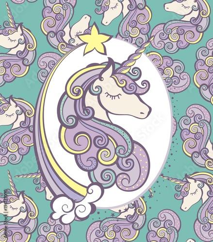 Fototapeta Cute Magical Unicorn Head Vector Design