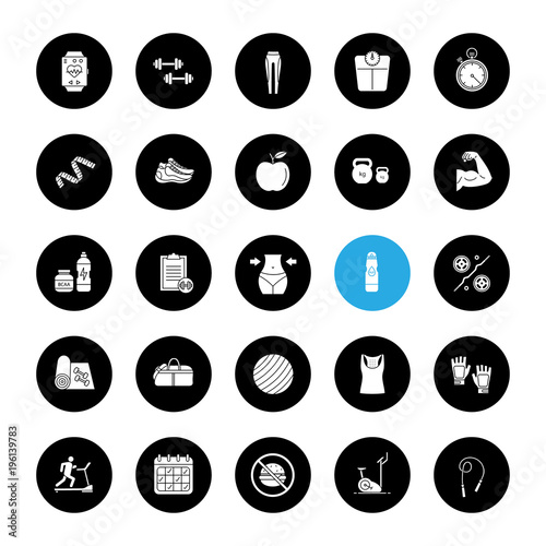 Zestaw ikon glifów fitness