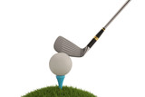 Golf club with golf ball on tee isolated on white background. 3D illustration.