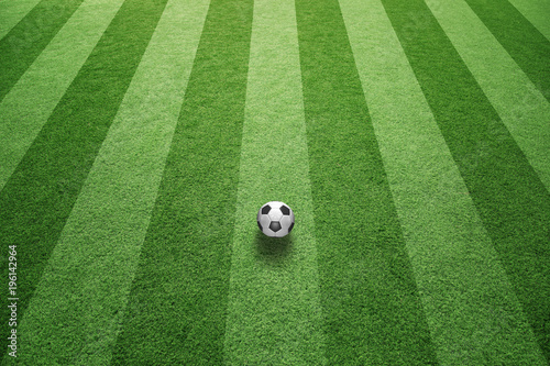 Fototapeta Sunny green football grass field with soccer ball.