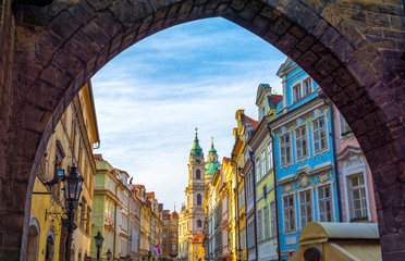 beautiful architecture in old part of Prague - Mala Strana, Czech republic