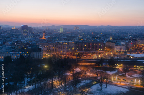 Foto op Canvas Wenen City of Vienna preparing for the evening as the winter sun sets