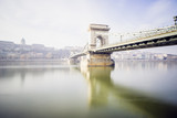 Chain bridge on Danube river in Budapest, Hungary