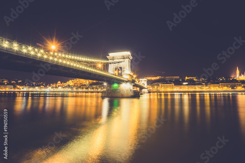 Foto op Canvas Boedapest Chain bridge on Danube river in Budapest, Hungary