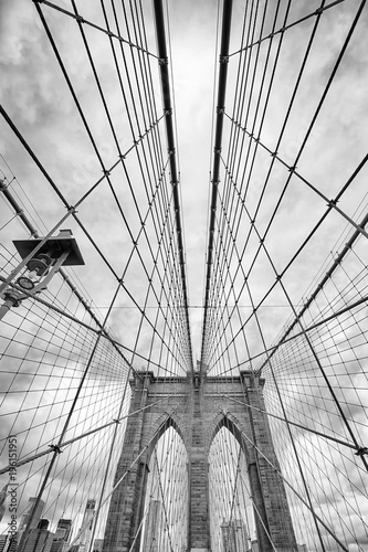 Deurstickers Brooklyn Bridge Looking up at the Brooklyn Bridge, New York City, USA.