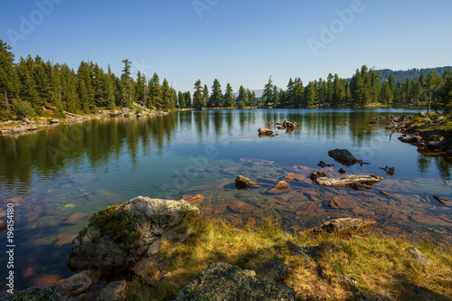 Amazing view of Hridsko Lake in the mountains of Montenegro