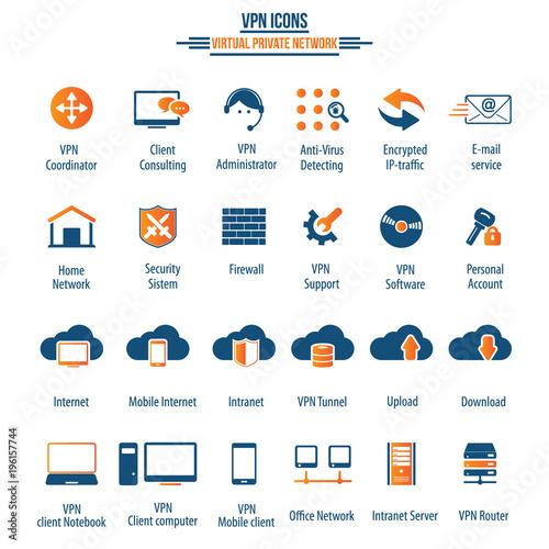VPN icon set - 24 icon set - Virtual Private Network