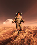 Astronaut enter into derelict planet or doing some exploration on a new planet he discover,3d rendering of sci-fi concept *Floating - 196157939