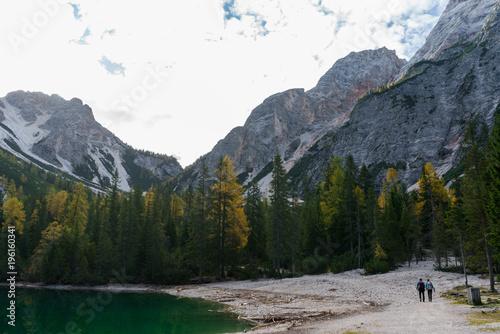 Foto op Canvas Wit lago di braies