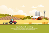 Agriculture and Farming. Agribusiness. Rural landscape. Design elements for info graphic, websites and print media. Vector illustration. - 196161301
