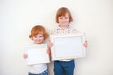 Children with frames in their hands on the white background - 196161529