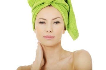 Beauty woman with turban towel.