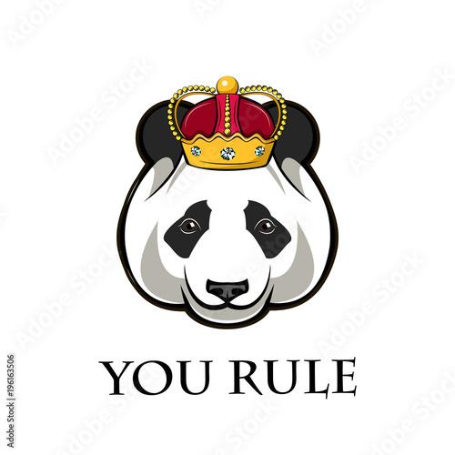 Fototapeta Panda in crown. illustration.