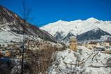 Medieval towers in Mestia in the Caucasus Mountains, Upper Svaneti, Georgia - 196163739
