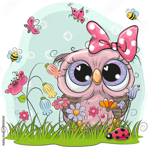 Cute Owl with flowers and butterflies