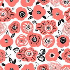 Seamless background with red poppies, roses and peonies. Perfect for kids fabric,textile,nursery wallpaper.