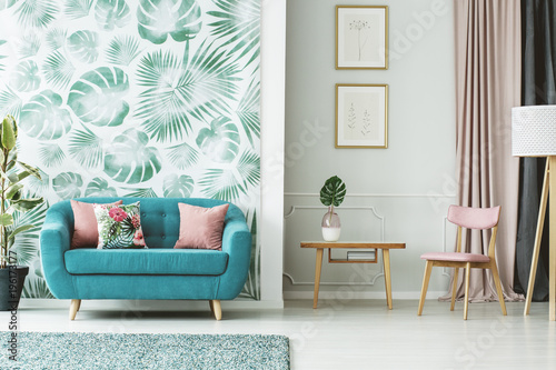 Cozy turquoise couch - 196173177