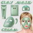 Set of clay mask and scrub. Cosmetic ads elements. Advertising skin care purifying peel-off. 3d vector isolated illustrations set.