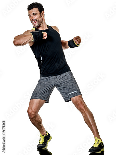 Fotobehang Fitness one caucasian fitness man exercising cardio boxing exercises in studio isolated on white background