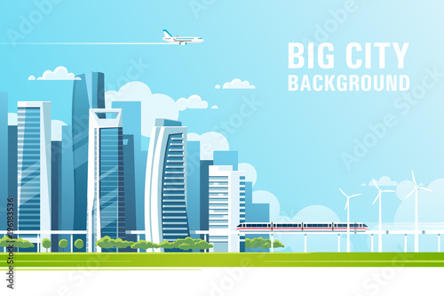 Poster Urban landscape with modern skyscrapers and subway. Vector illustration.