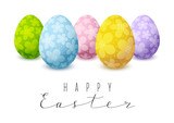 Easter card with color floral decorated eggs - 196183998