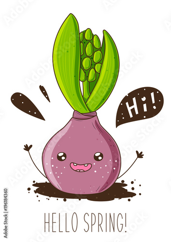 Fridge magnet Spring greeting card with happy hyacinth character