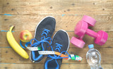 Fitness workout, reducing weight for the springtime,healthy lifestyle concept, flat lay